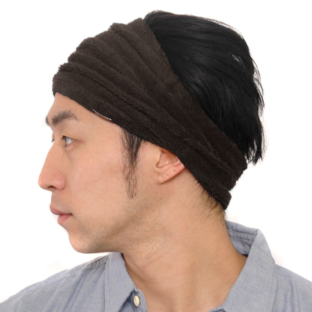 CasualBox Mens Sports Sweat Headband Towel Stretch Spandex Brown 4589777961326