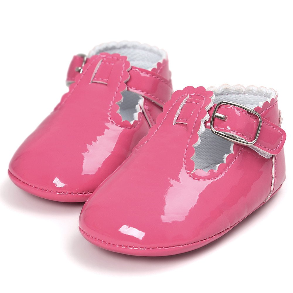 CieKen Infant Baby Girls Soft Sole Prewalker Crib Mary Jane Shoes Princess Light Shoes