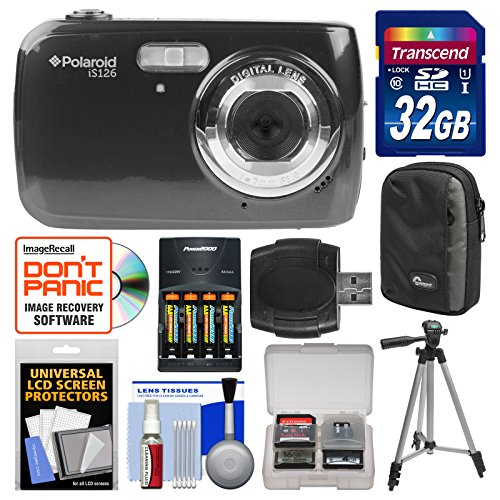 Polaroid iS126 16.1MP Digital Camera (Black) with 32GB Card + Case + Batteries & Charger + Tripod + Kit by Polaroid