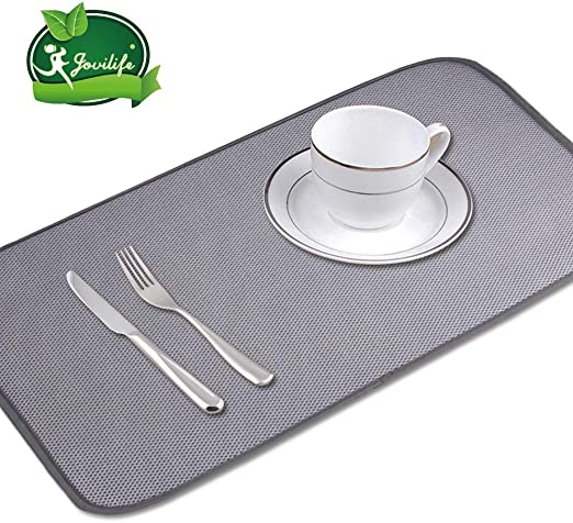 Amazon Com Jovilife 2pack 9x18inch Small Dish Drying Mat Mini Dish Drying Mat Dish Drying Mat Kitchen Mat Microfiber Absorbent Washable 9x18 Inch Grey Kitchen Dining