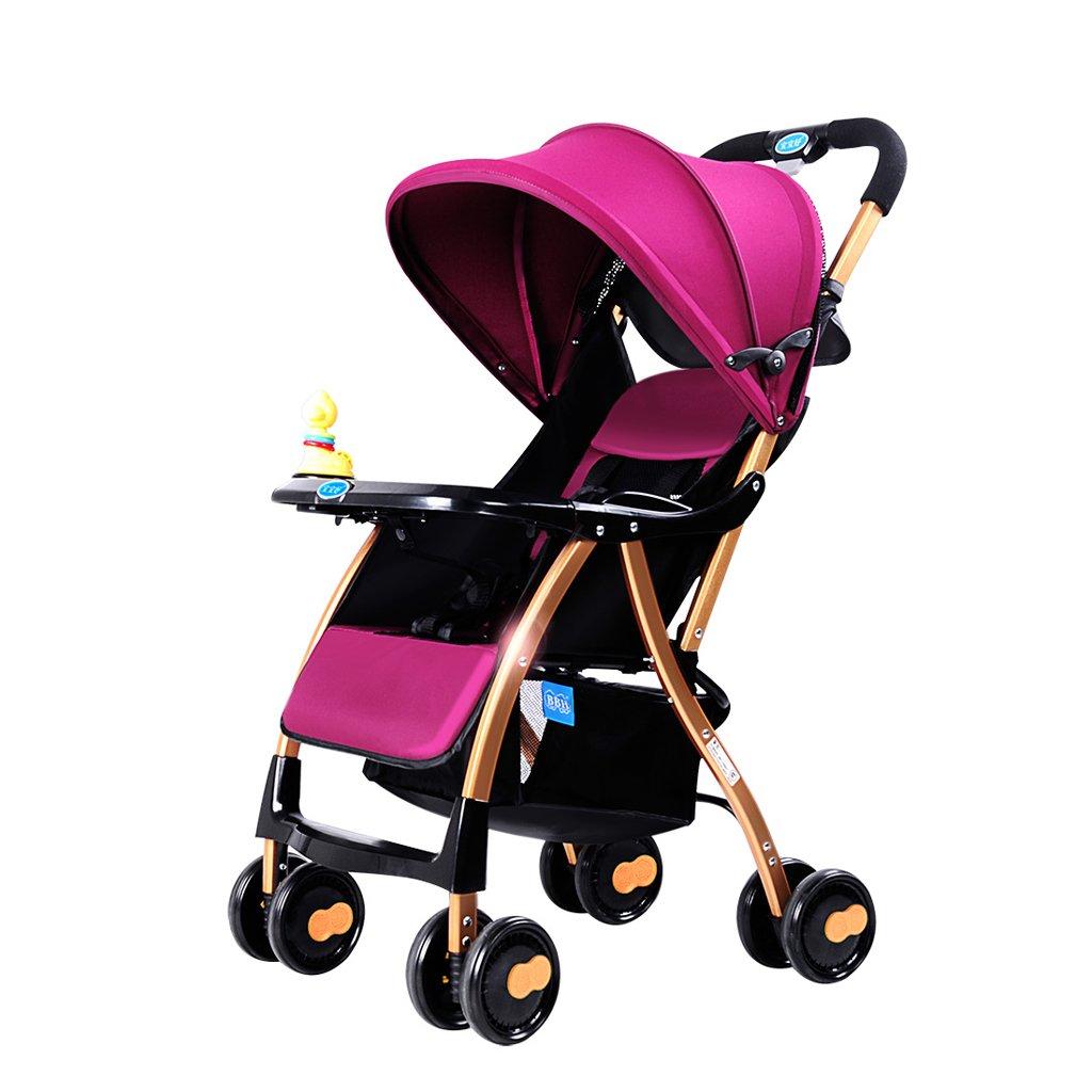 赤ちゃんのベビーカーライト折りたたみリクライニング子供の傘のトロリー(青)(紫)69 * 46 * 97センチメートル ( Color : Purple ) B07BSV9J12