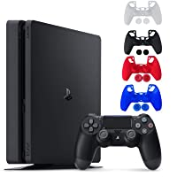 Sony Console Playstation 4-1TB Slim Edition Jet Black - PS4 with 1 DualShock Wireless Controller - Family Holiday Gaming - iPuzzle 4 Colors Silicone Cover Skin Protector for PS4