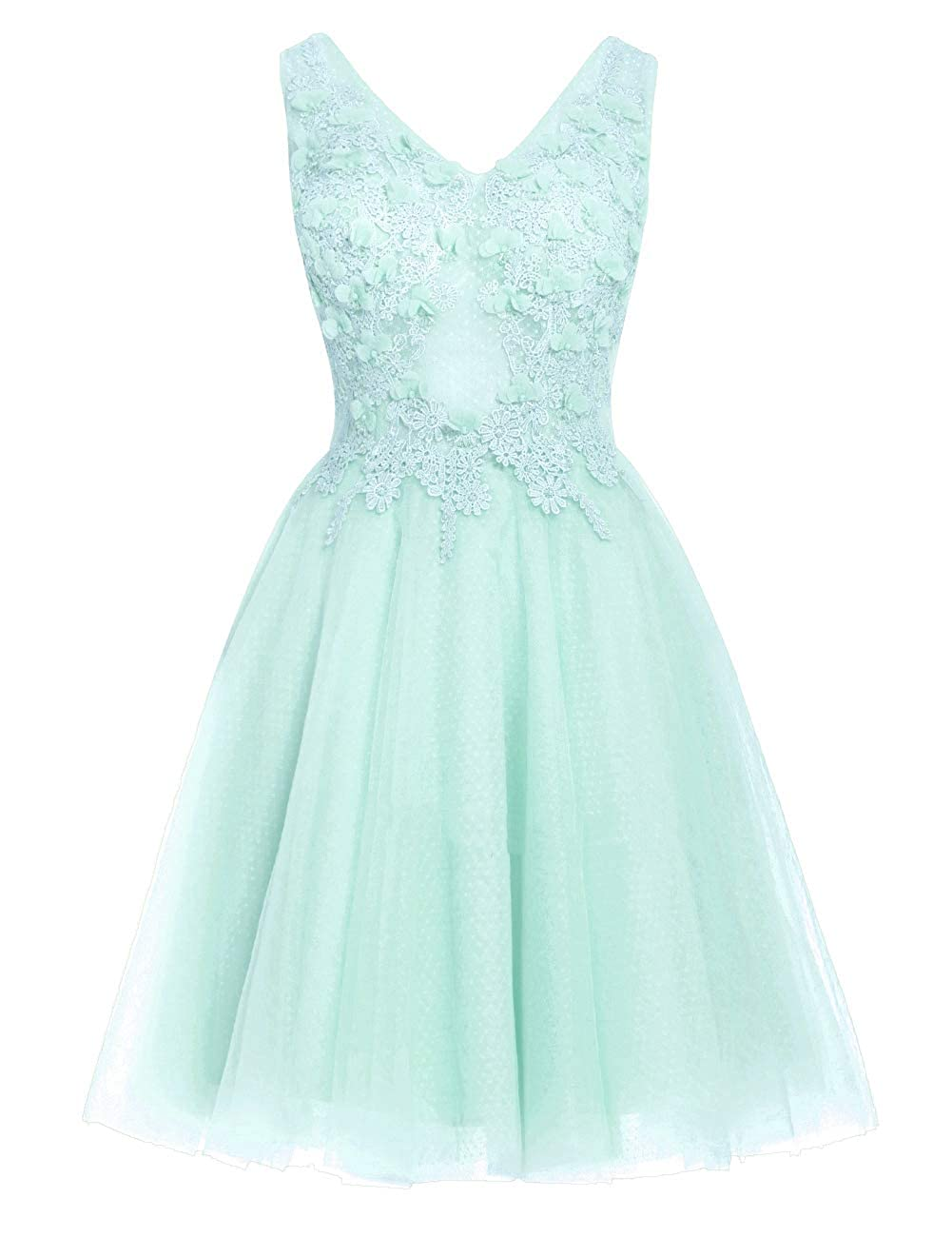 Ice bluee Uther Short Homecoming Dresses Lace Appliques 2018 Prom Wedding Party Dress V Neck