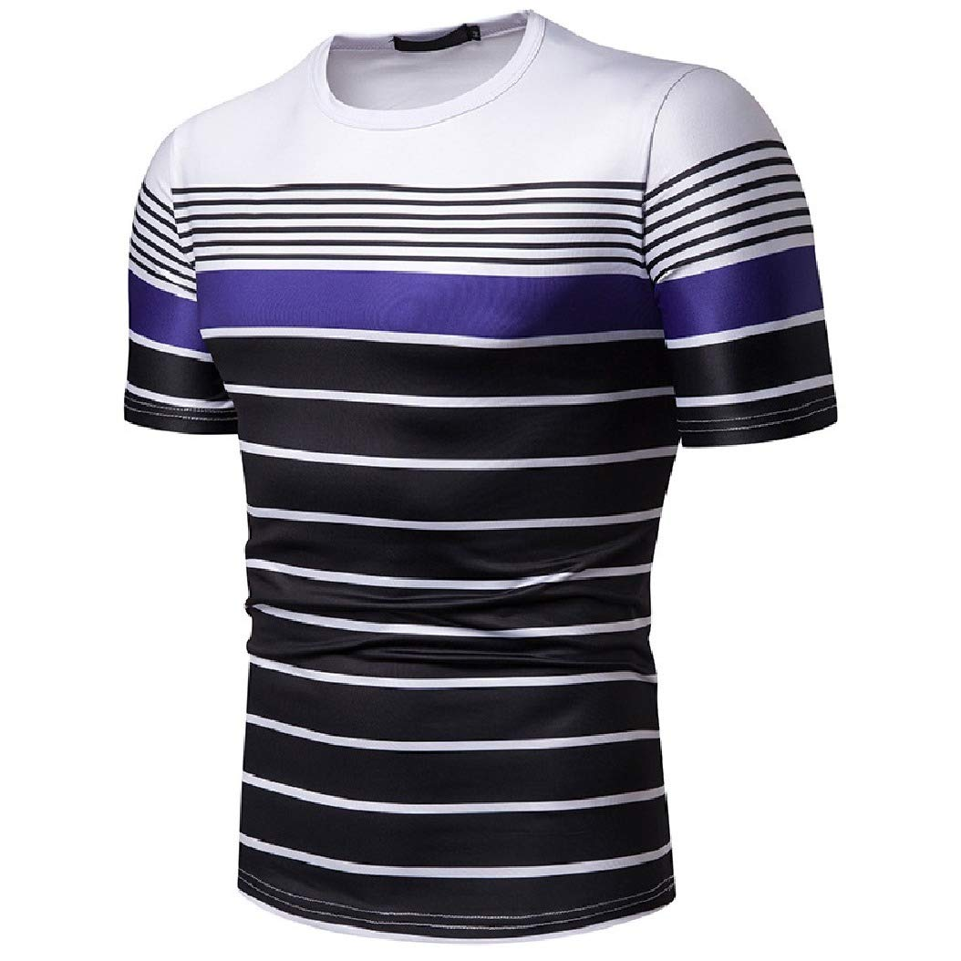 Mfasica Men Stripes Printed Crew Hit Color Short-Sleeve Causal Tees
