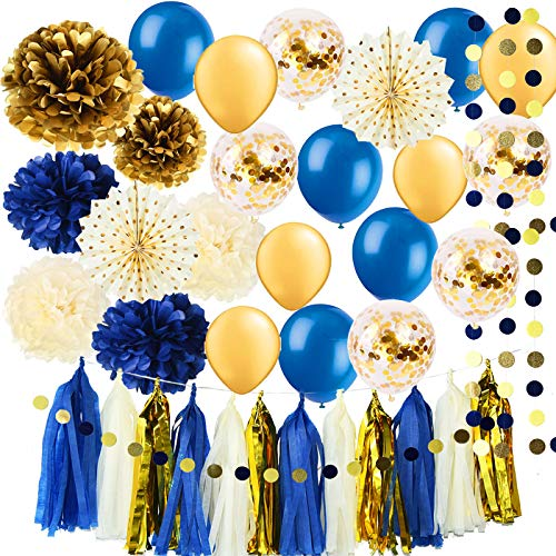 Royal Pince Baby Shower Decorations for Boy/ Navy Gold Bridal Shower Decorations Tissue Pom Pom Latex Balloons Gold Polka Dot Paper Fans for Boy First Birthday Little Prince Navy Gold Decorations -