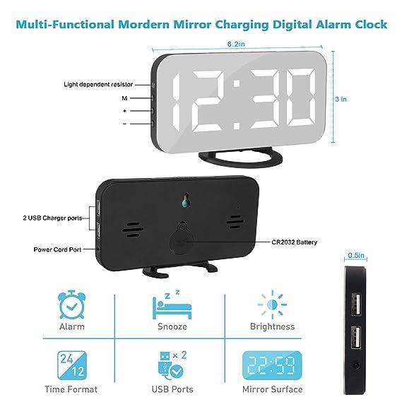 Reloj despertador digital, 6.5 Pulgadas Grande LED Espejo ...