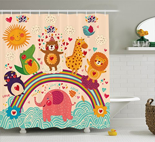 Ambesonne Cartoon Decor Collection, Happy Animals Bear Lion Elephant Crocodile Birds on Rainbow Children Drawing Effect, Polyester Fabric Bathroom Shower Curtain, 75 Inches Long, Orange Green Happy Bird Day Collection