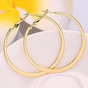 Amazon Com Xiaodou Flat Big Hoop Earrings For Women Girls Silver