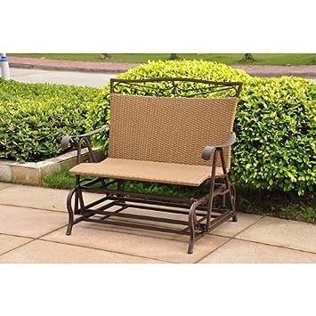 International Caravan Wicker Resin Steel Single Hanging Patio Chair Swing