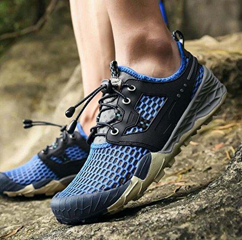 Onfly Bomba Hueco Malla Hilado de red Zapatos deportivos Zapatos casuales Hombres Respirable Color puro Cordon de zapato Antideslizante Snekers Zapatos para correr Al aire libre Zapatos de escalada Ta Blue