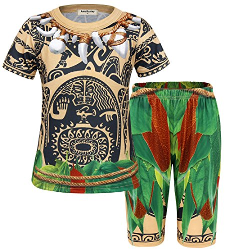 AmzBarley Boys Pajamas Sets 2 pcs Tops and Pants Maui Costume (2T (1-2Years), Light (Halloween Outfits 2 Year Olds)
