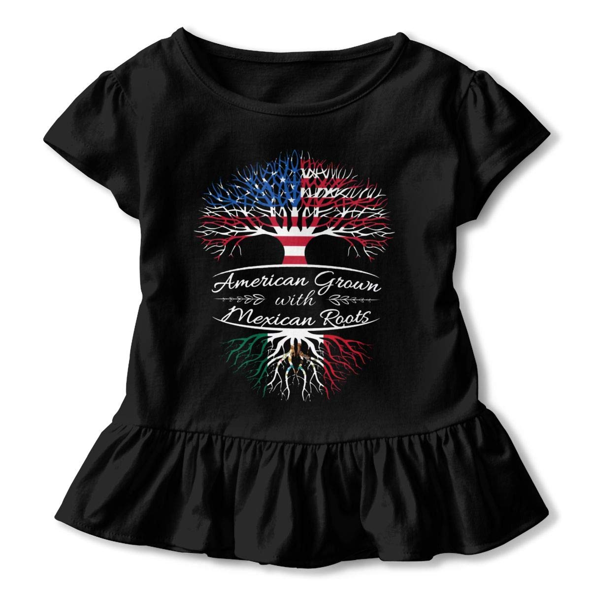 American Grown Mexican Roots2 Baby Girls Short Sleeve Ruffles T-Shirt Tops 2-Pack Cotton Tee