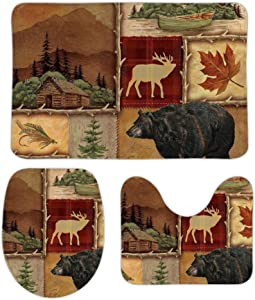 Puxumaa Rustic Lodge Bear Moose Deer 3 Piece Bath Mat Set Bath Rug Set Non-Skid Absorbent Flannel Bathroom Mats, Toilet Seat Cover,U Shaped Toilet Mat Home Decor Doormats