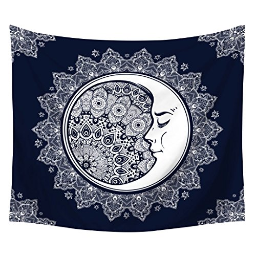 tidy decor Psychedelic Celestial Tapestry, India Moon and Sun with Many Fractal Faces Hippie Hippy Wall Hanging Boho Bohemian Wall Art -