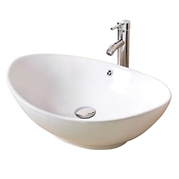 Bathjoy Oval White Porcelain Ceramic Bathroom Vessel Sink Countertop