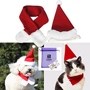 Bolbove Pet Adjustable Christmas Santa Hat + Scarf for Small Dogs & Cats Holiday Accessory (Free Size)