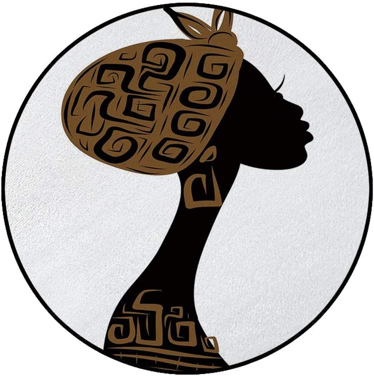 36 x 72 Half Round Door Mat,Face Profile Silhouette Woman with Headscarf Tribal Art Folk Elements Outdoor//Indoor Entry Rug,for Home Kitchen Office Standing Desk Mats,Brown Black White
