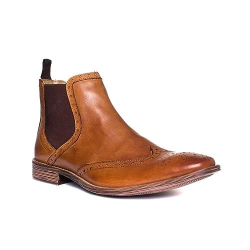 e15e0eae Catesby Mens Tan Pull On Brogue Boot: Amazon.co.uk: Shoes & Bags