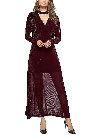 Vestiti Donna Eleganti da Cerimonia da Sera Festa Cocktail Abito Manica  Lunga V Scollo Vita Alta Puro Colore Vintage Moda Hipster Impero Due Pezzi  Lunghi ... a86f53c3dc6