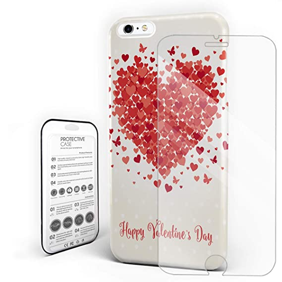 pretty nice 6829c 1873b Amazon.com: Phone Case Slim Hard PC Back Cover with Glass ...