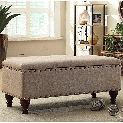 HomePop Quality Elegant Stylish Tan Finish Upholstered Storage Entryway Bench, 18