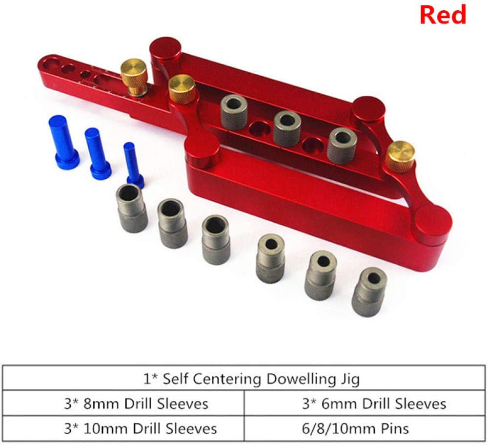 6/8/10mm Dowel Jig Self-Centering Dowelling Jig Metric Dowel Precise Hole Puncher Locator Drill Guide Carpenter Woodworking Tool-Red Red