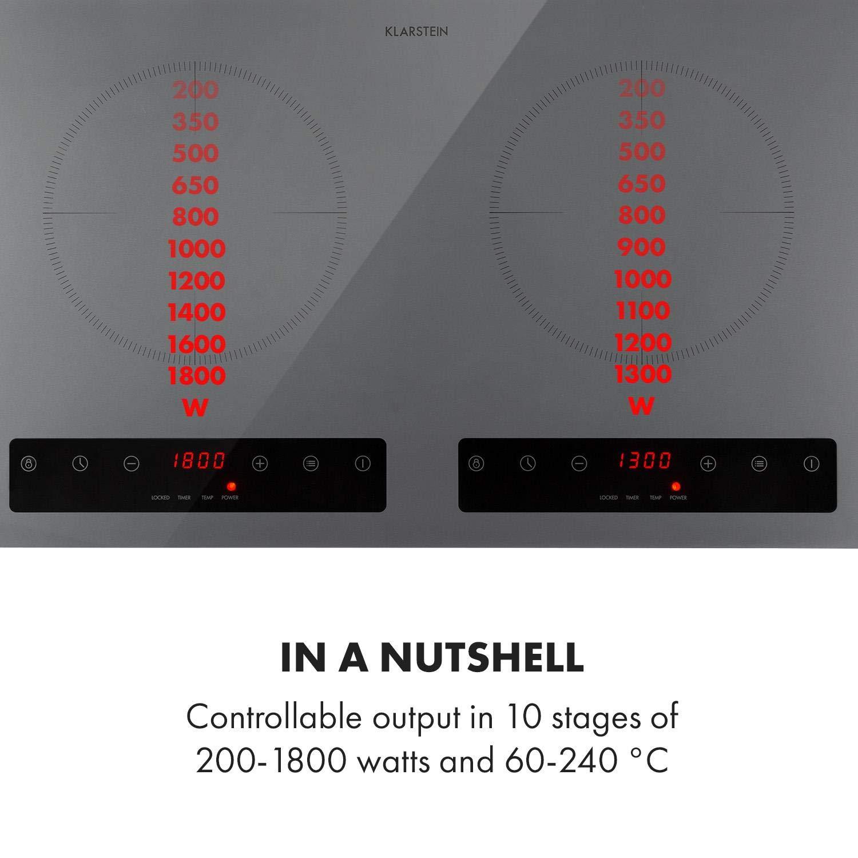 Table de cuisson /à induction Ecran LED Temp/érature 60-240 /°C 2 zones de cuisson Klarstein Varicook Steel Minuterie: 1-180 min Puissance totale de 3100W Panneau de commande tactile Noir
