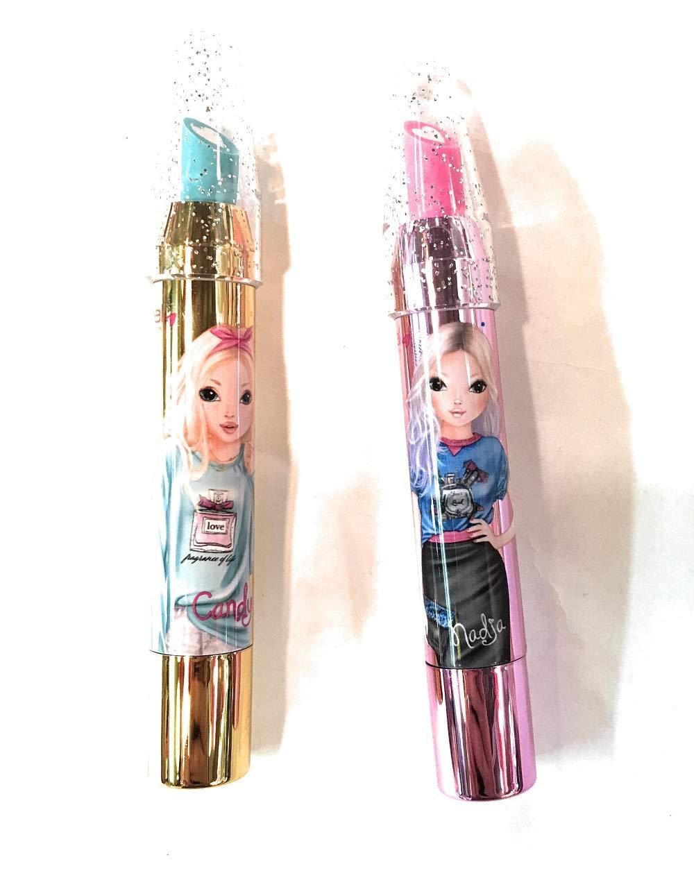 color rosa y azul Lote de 2 gomas de borrar de labios perfumadas Top Model 11 cm