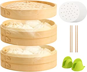 Bamboo Steamer Basket 10 Inch with 2 Tiers & Lid for Dim Sum, Meat & Dumplings Steam Cooker Set for Rice, Eggs & Veggies Including Chopsticks, Liner Papers & Silicone Oven Mitts