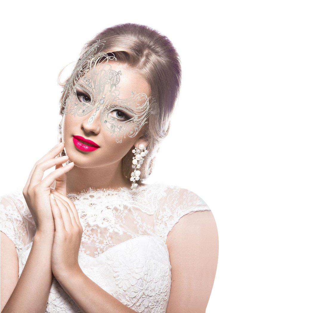 Maschera veneziana in maschera da coppia Oro rosa + nero Carnevale di Halloween Mardi Gras Ball Mask 2 Pack