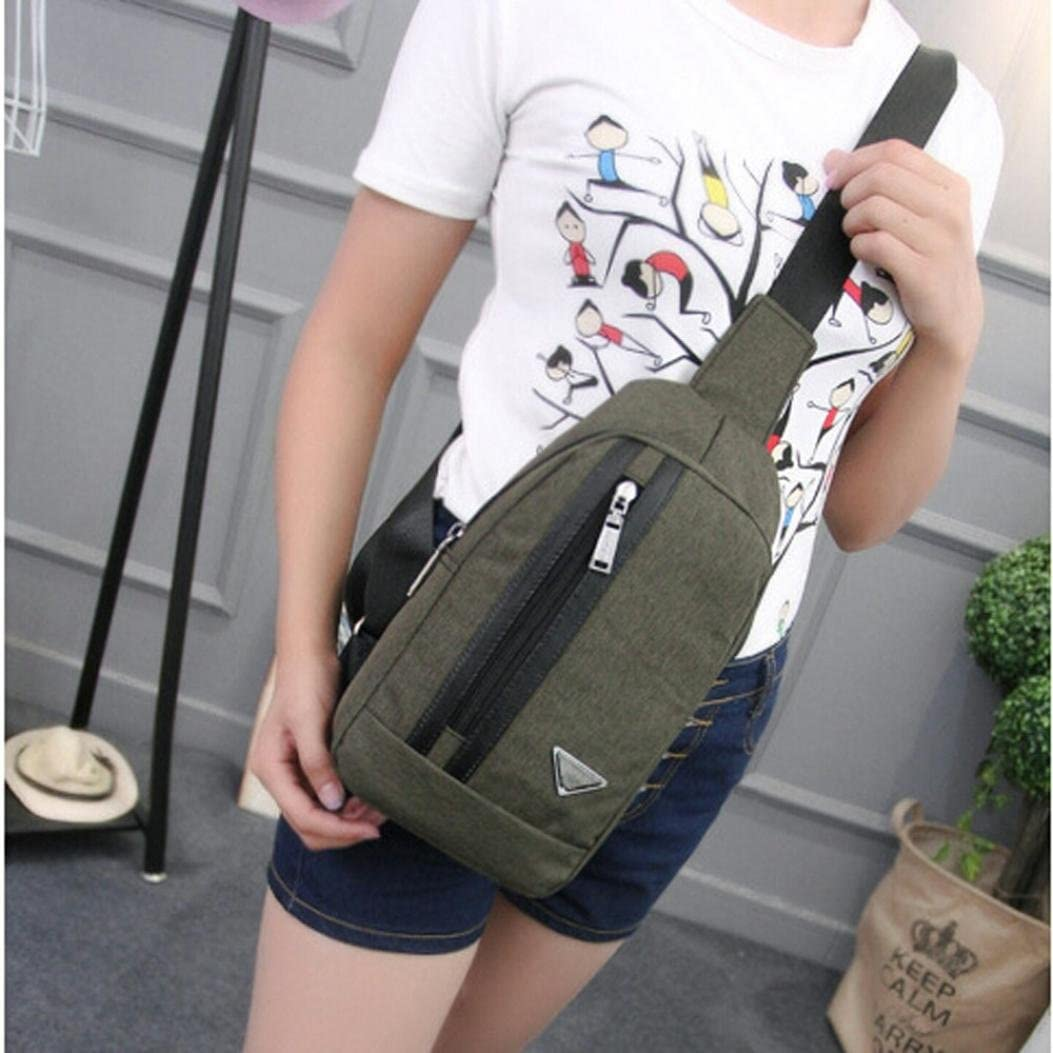 Leegor Unisex Sports Canvas Messenger Bag Unbalance Backpack Crossbody Shoulder Bag