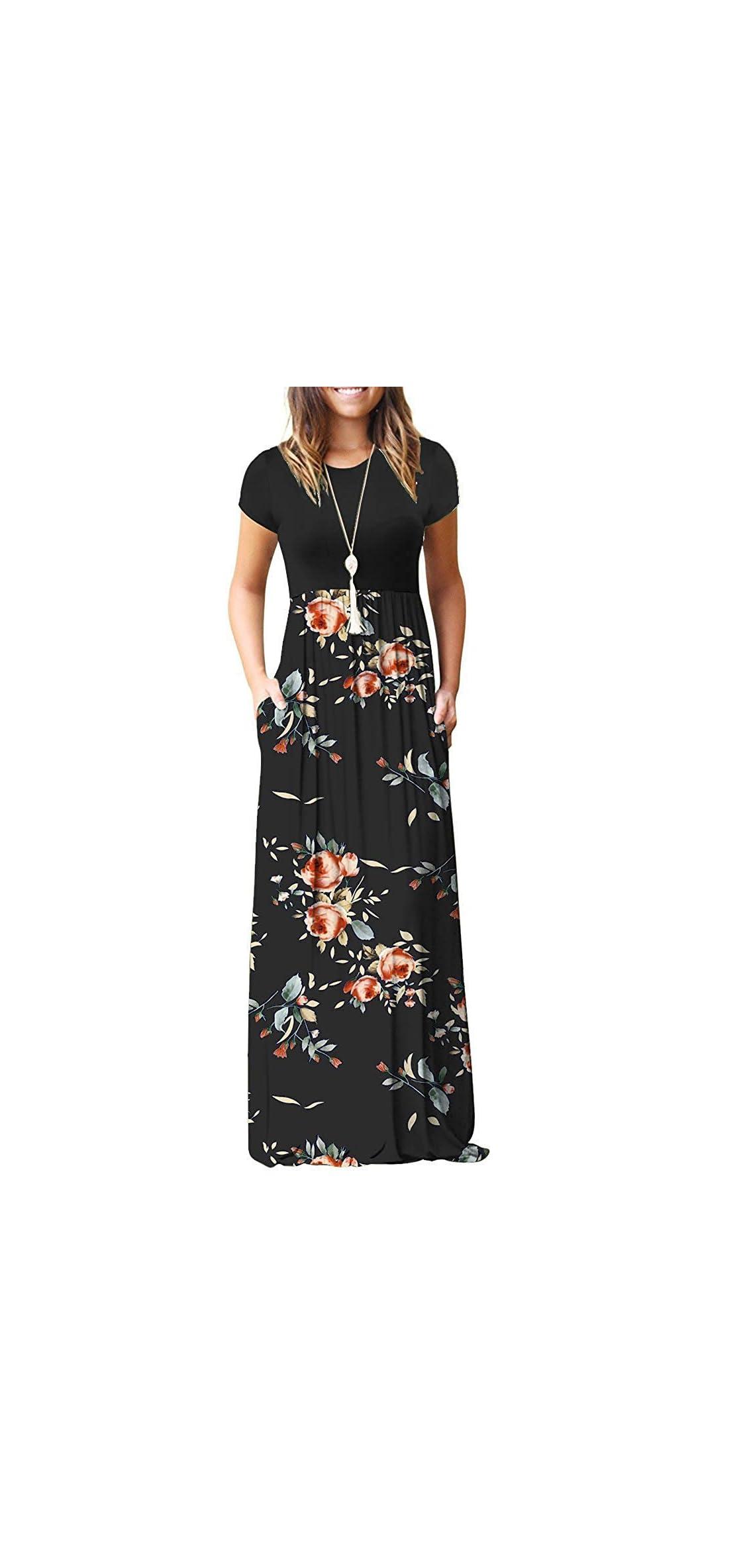 Women Short Sleeve Loose Plain Casual Long Maxi Dresses