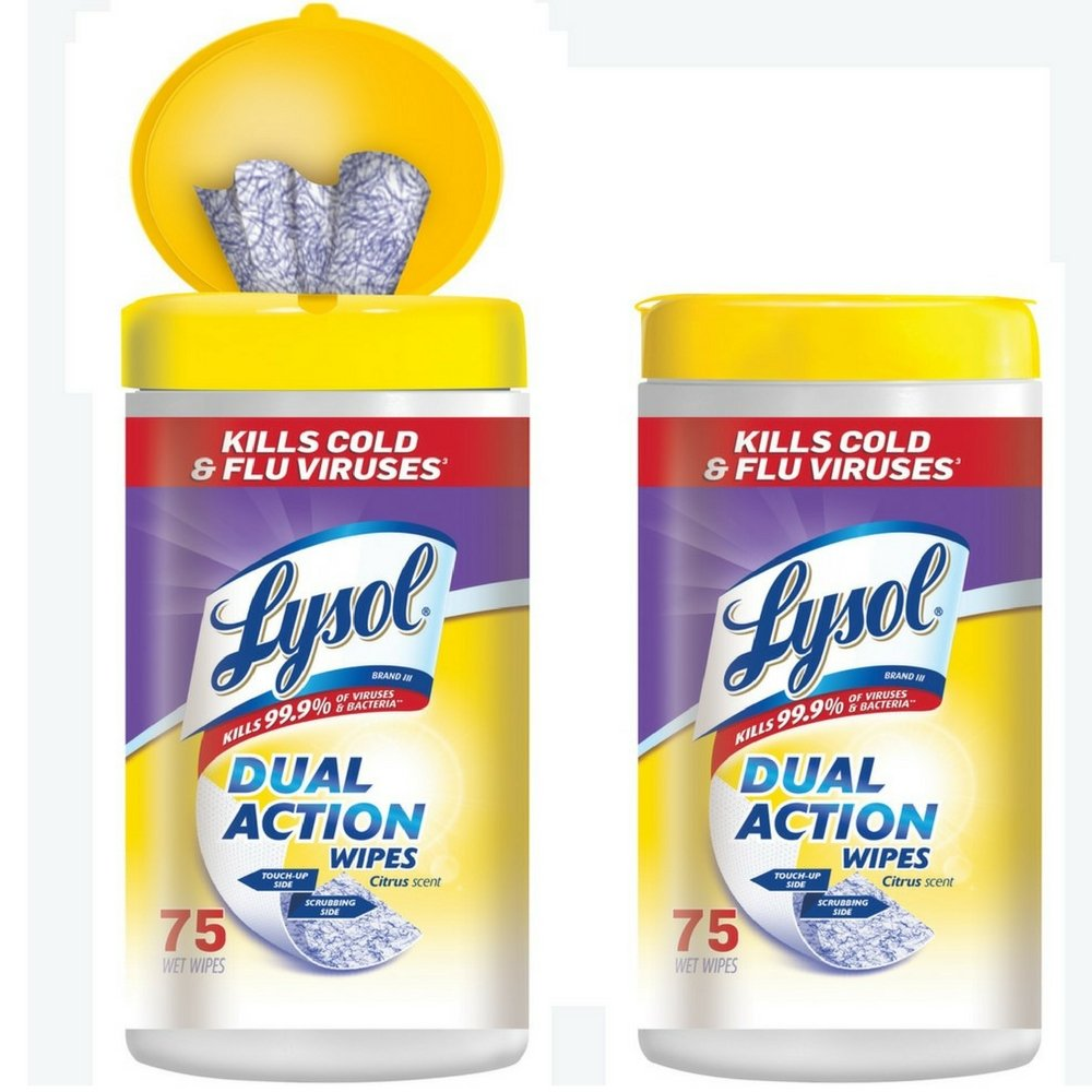 Lysol Dual Action Disinfecting Wipes w. Scrubbing Texture, 150ct (2X75ct) ( Pack of 2)