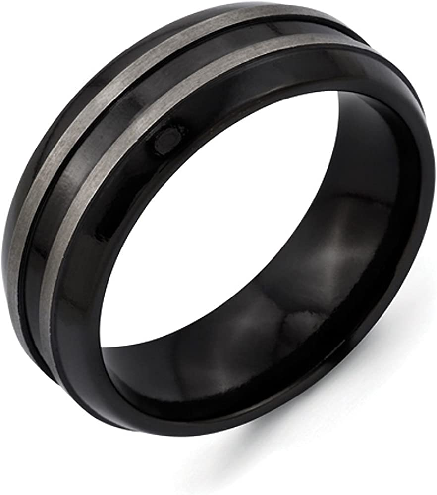 Titanium Black Ti Brushed and Polished Domed 8mm Band
