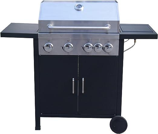 LuxuryGarden - Barbacoa a gas con 4 quemadores y hornillo lateral Risto