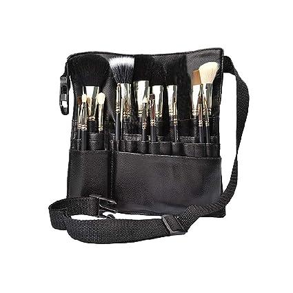 1PC PU cuero maquillaje cepillo cintura bolsa portátil cosmética titular de pincel organizador con correa de cinturón de artista (revelar)