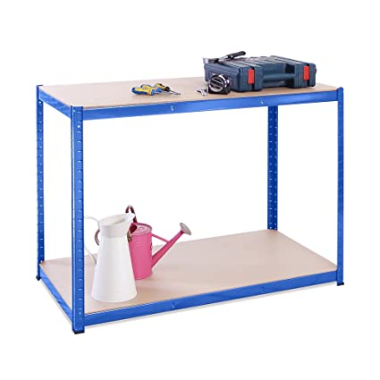 Magnificent 90Cm X 120Cm X 60Cm Blue 2 Tier 300Kg Per Shelf 600Kg Capacity Garage Shed Workbench 5 Year Warranty Squirreltailoven Fun Painted Chair Ideas Images Squirreltailovenorg