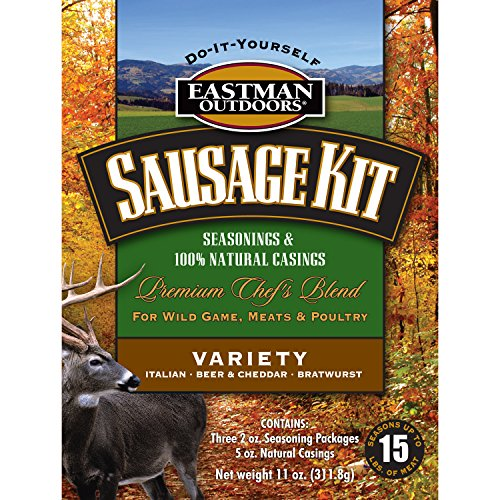 Eastman Outdoors 38661 Variety Sausage Kit for Wild Game, Meats, and Poultry (Makes 15 Pounds Combined Italian, Bratwurst, Beer and Cheddar Includes Natural Hog -