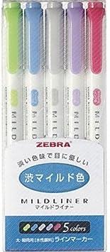 5-Color Set 5-Color Set Zebra MILDLINER WKT7-5C //WKT7-5C-NC CASE of 2 // WKT7-5C-RC 5-Color Set 3 pack