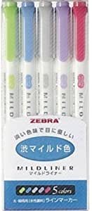 Zebra MILD LINER, Double Sided Highlighter Noble Color, 5 Set (WKT7-5C-NC)