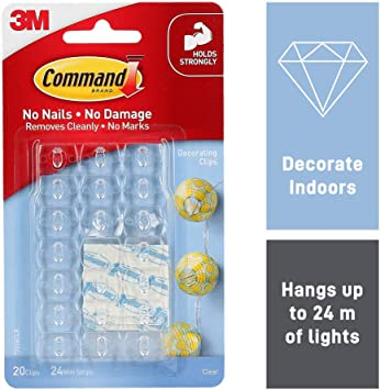 Command Christmas and Fairy Light Decoration Clips Pack of 20