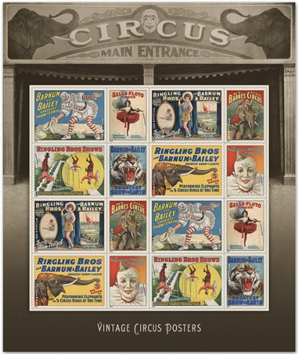 USPS Vintage Circus Posters, Forever U.S. Postage Stamps, Sheet of 16 Photo #1
