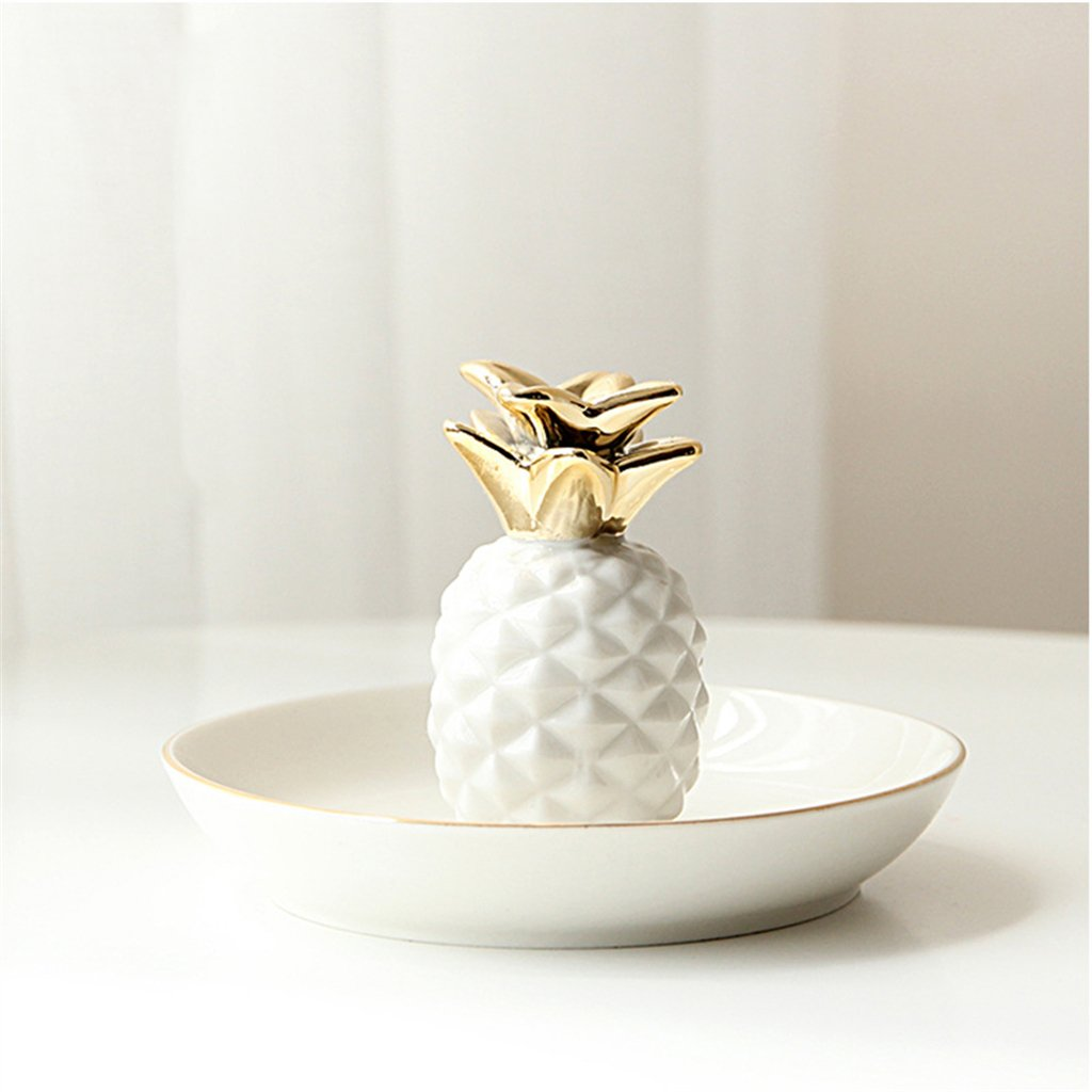 Prettyia 2 Pieces Ceramic Pineapple Tray Ring Necklace Trinkets Jewelry Holder Room Decor Xmas Gifts