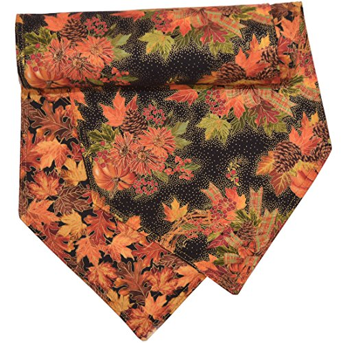 Fall Wreath and Leaf Print 54 inch Table Runner