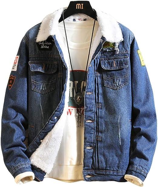 [ZHONGJUE]ジージャン メンズ ボアデニムジャケット 裏起毛 ジャケット デニム 厚手 防寒 コート 冬 あったか 保温 カジュアル ストリート系 アウター 中綿ジャケット