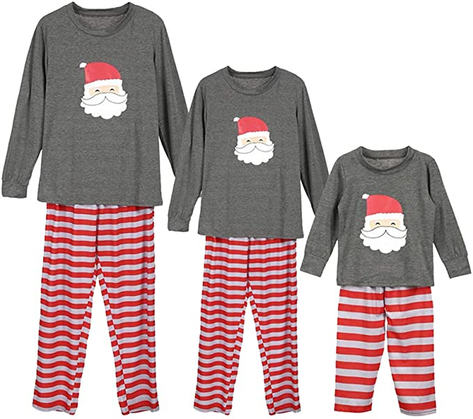 KINLOU Pijamas de Navidad Familia Conjunto - Ropa de Dormir Manga ...