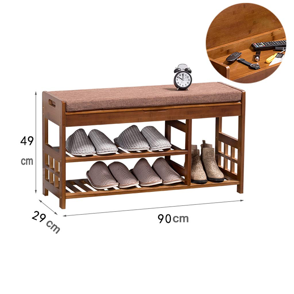 90cm Change shoes Bench shoes Change shoes Bench Bamboo Solid Wood Storage Bench wear shoes Bench shoes Rack (Size   52cm)