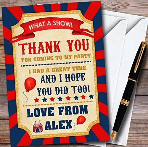 Blue /& Orange Circus Personalized Childrens Birthday Party Thank You Cards