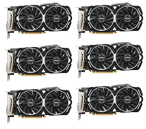 Price comparison product image 6 Packs of MSI VGA Graphic Cards RX 570 ARMOR 4G OC DDR5 for for Etheruem Zcash Cryptocurrency Mining