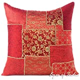 Eyes of India 20'' Burgundy Red Silk Brocade Decorative Pillow Cushion Cover Throw Sofa Couch Indian Colorful Boho Seating Bohemian